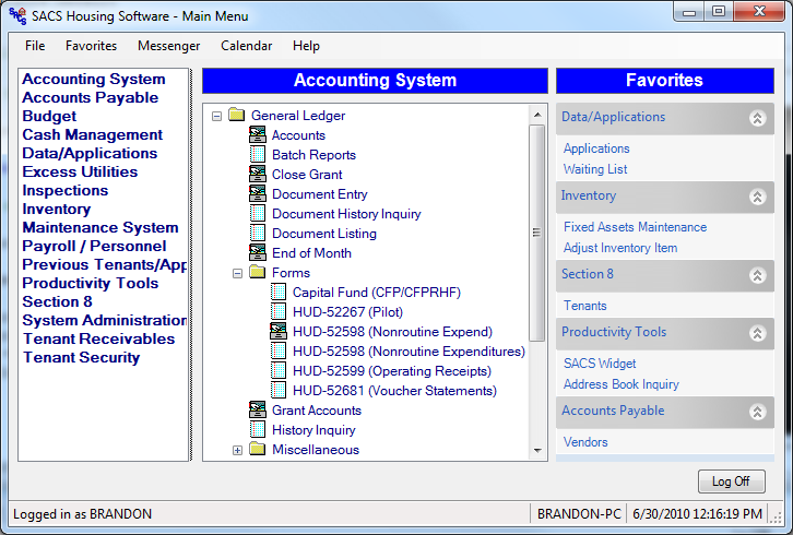 The Accounting System module includes General Ledger, Budget Preparation and Asset Depreciation. These systems automate the activities associated with financial accounting.