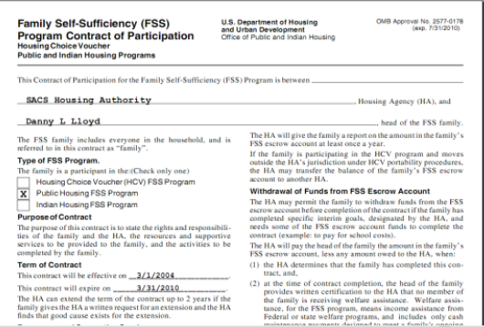 Above is an example of the HUD-52650 FSS Contract of Participation produced by SACS Housing Software.