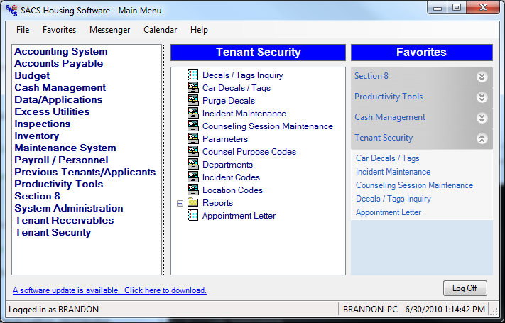 The Tenant Security module includes applications for maintaining and reporting Decals and Tags, Incidents, and Tenant Counseling. These systems automate the activities associated with Tenant Security.