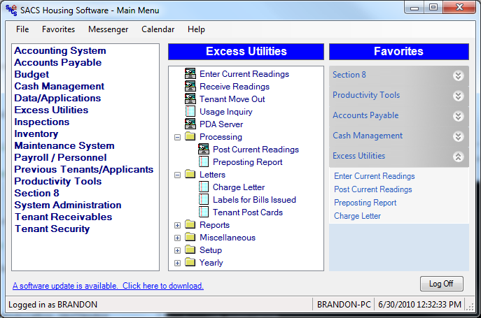 The Excess Utility system contains the necessary features to manage agency provided utilities. It allows agencies to accurately track, bill, and report utility usage.