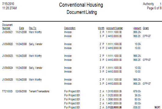 Above is an example of a Document Listing created with SACS Housing Software.