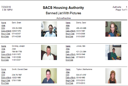 Above is an example of a Banned List created with SACS Housing Software.