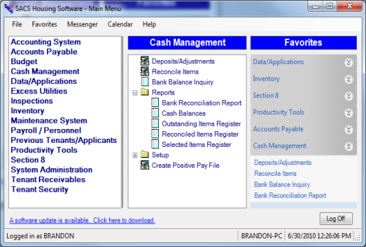 The Cash Management system contains the necessary features to manage deposits, checks, and adjustments. It allows agencies to accurately maintain, track, and report outstanding deposits and checks.