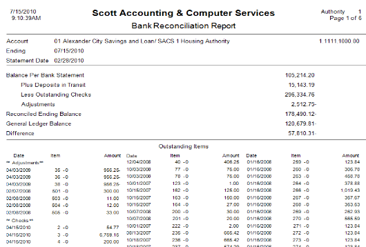 Above is an example of a Bank Reconciliation Report produced by SACS Housing Software.