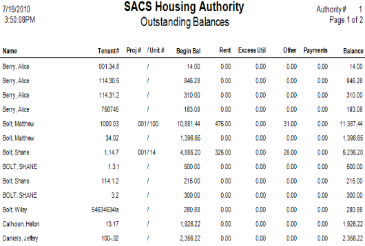 Above is an example of an Outstanding Balances report created with SACS Housing Software.