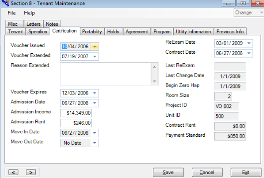 Above is an example of a Tenant Maintenance screen created with SACS Housing Software.