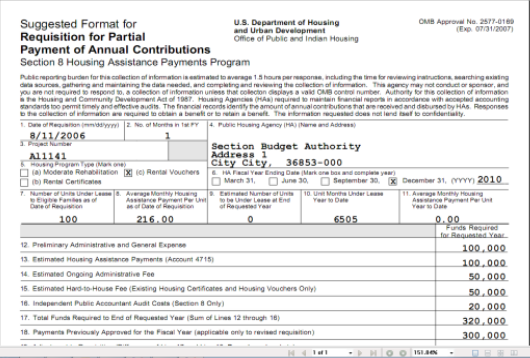 Above is an example of a HUD-52663 form produced by SACS Housing Software.