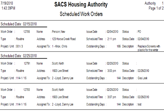 Above is an example of a Scheduled Work Orders report created by SACS Housing Software.