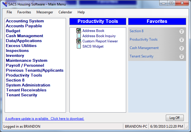 Productivity Tools are special programs designed to help users fully utilize SACS Housing Software. From allowing users to quickly locate vendor information, providing the ability to create a customizable report, to displaying a range of information from Account Receivable Balances all the way to Outstanding Work Orders, these tools are yet another way that shows SACS Housing Software keeps the users in mind.